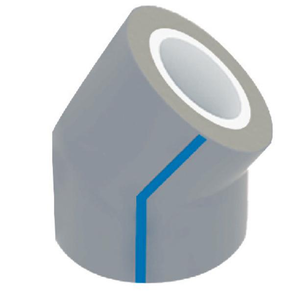 CODO 45° EN PVC CON RECUBRIMIENTO PEADUV 1